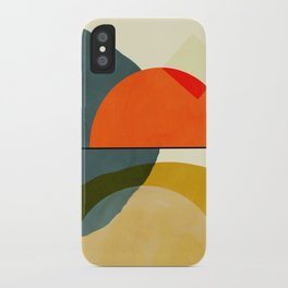 mid century geometric modern painting abstract II iPhone Case