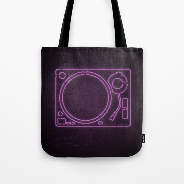 Neon Turntable 1 - 3D Art Tote Bag