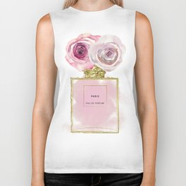 Pink & Gold Floral Fashion Perfume Bottle Biker Tank