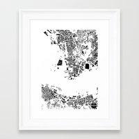hong kong Framed Art Prints featuring Hong Kong by Maps Factory