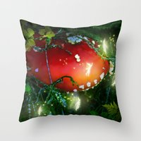 secret life Throw Pillows featuring Secret Life Of Pixies by Jia Sen