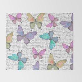 Butterflies  (white) Throw Blanket