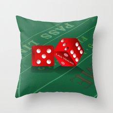 Craps Table & Red Las Vegas Dice Throw Pillow