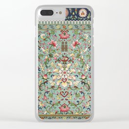 Asian Floral Pattern in Turquoise Blue Antique Illustration Clear iPhone Case