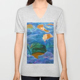 Abstract beautiful rock pools in the late afternoon Unisex V-Neck