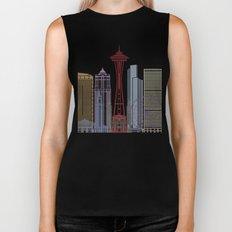 Seattle skyline poster Biker Tank