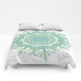 Blue and Green Flower Mandala II Comforters