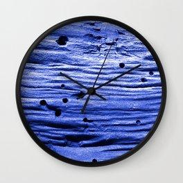 blue wood Wall Clock