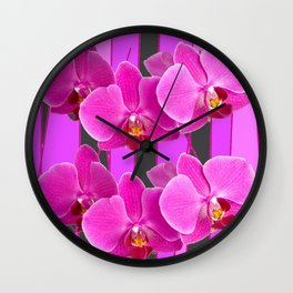 MODERN CHARCOAL GREY COLOR CERISE PURPLE ORCHIDS Wall Clock