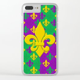Mardi Gras Fleur-de-Lis Pattern Clear iPhone Case