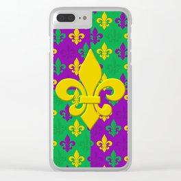 Mardi Gras Fleur-de-Lis Pattern Clear iPhone Case