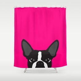 Boston Terrier Hot Pink Shower Curtain