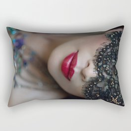 Beautiful Topless Woman in Mardi Gras Mask with Necklace Rectangular Pillow
