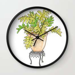 Philodendron Houseplant Wall Clock