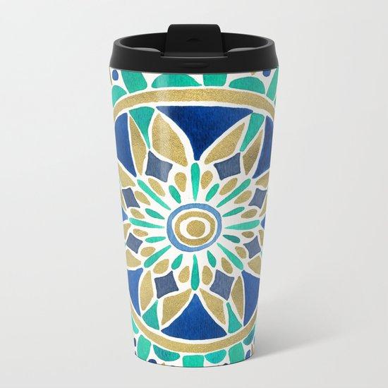 Mandala – Gold & Turquoise Metal Travel Mug