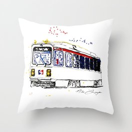Septa Trolley Art: Philly Public Transportation Throw Pillow