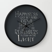 "dumbledore Wall Clocks featuring Harry Potter - Albus Dumbledore quote ""Happiness""  by SimpleSerene"
