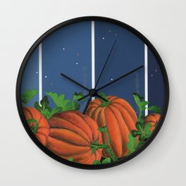 Pumpkin Patch at Night on Blues Wall Clock