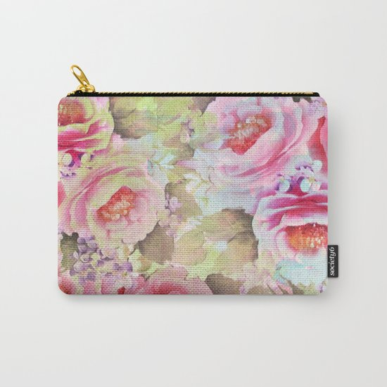 floral in soft pink,blue and green Carry-All Pouch