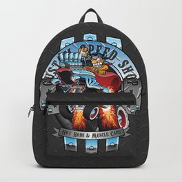 Custom Speed Shop Hot Rods and Muscle Cars Illustration Backpack
