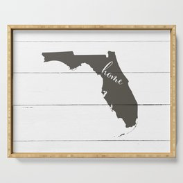 Florida is Home - Charcoal on White Wood Serving Tray