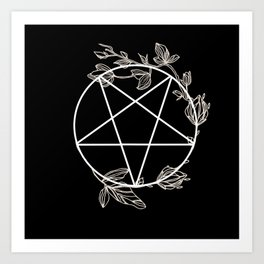 Pentagram with Plant Adornments - on black Art Print