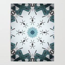 Decorative Silver and Sea Foam Mandala Poster
