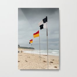 'Between the Flags' Cave's Beach, Newcastle Metal Print