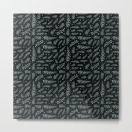 Black Leaf Pattern Metal Print