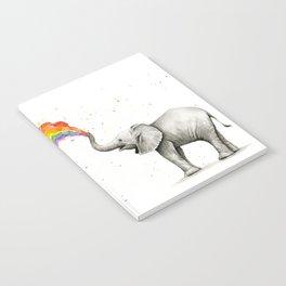 Baby Elephant Spraying Rainbow Notebook
