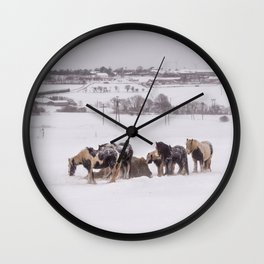 horses in the snow Wall Clock