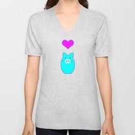 Blue Pig in Love Unisex V-Neck