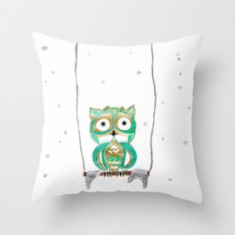 Owl Fun #1 #mint #green #gold #drawing #decor #art #society6 Throw Pillow