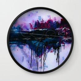 Dawn, pink and fushia black and blue acrylic abstract artwork Wall Clock