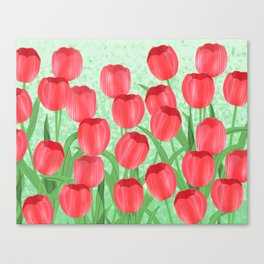 Red Tulip Field Canvas Print
