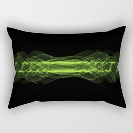 Plasma or high energy force concept. Green glowing energy waves on black Rectangular Pillow