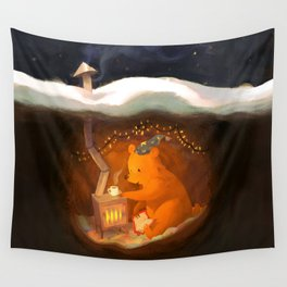 Snowy Rooftops Wall Tapestry