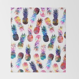 watercolor and nebula pineapples illustration pattern Throw Blanket