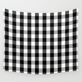 Large Black White Gingham Checked Square Pattern Wall Tapestry