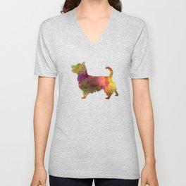 Australian Terrier in watercolor Unisex V-Neck