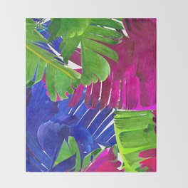 Colorful tropical leaves Throw Blanket