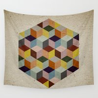 escher Wall Tapestries featuring Dimension by According to Panda