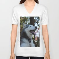 husky V-neck T-shirts featuring Husky. by Saremotion