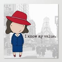 agent carter Canvas Prints featuring Agent Carter by Jen Talley