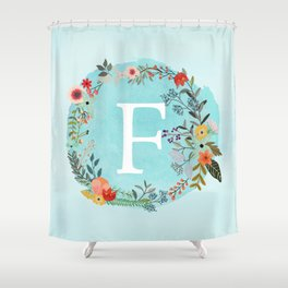 Personalized Monogram Initial Letter F Blue Watercolor Flower Wreath Artwork Shower Curtain