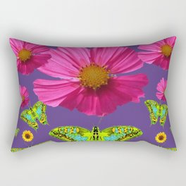 FUCHSIA COSMO FLORALS GREEN MOTHS SUNFLOWERS Rectangular Pillow