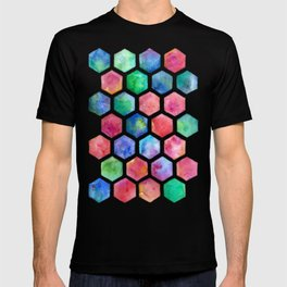 Hand Painted Watercolor Honeycomb Pattern T-shirt