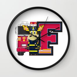 F is for Fireman Wall Clock