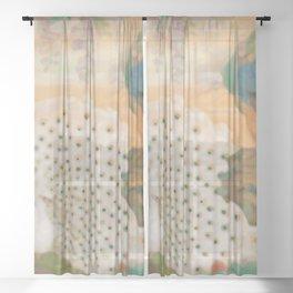Peacocks In Paradise Vintage Oriental Art Sheer Curtain