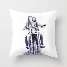 Biker Babes Throw Pillow